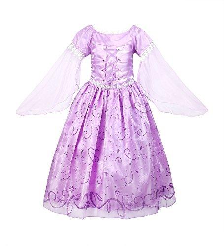 ReliBeauty – Vestido Princesa Rapunzel traje de cuento de hadas para niña -150 cm, lila