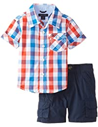 Tommy Hilfiger Baby Boys' Asher Yarn Dye Plaid Shirt and Cargo Short Set