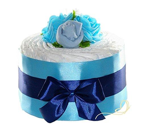 Windeltorte Junge blau ROSENBLÜTE Pampers New Baby – Geschenk zur Geburt Boy – Zuckersüße Windeltorten by dubistda