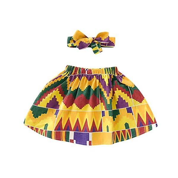 QinMMROPA Falda Africana de bebé niña Conjunto de Ropa de Diadema Falda de Estilo étnico 2