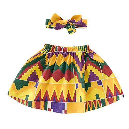 Alwayswin Kleinkind Kinder Baby Mädchen Afrikanischen Rock + Stirnband Print Kleidung Set Afrikanischer Promi-Stil Bedruckter Rock Mode Wild A-Linienrock Bequem Retro Römerrock
