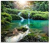 Wallario Herdabdeckplatte/Spritzschutz aus Glas, 1-teilig, 60x52cm, für Ceran- und Induktionsherde, Türkisgrüner See im Nationalpark in Guatemala