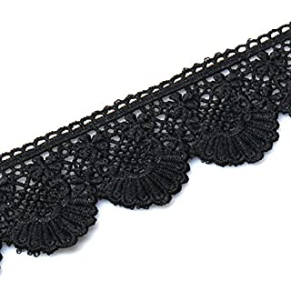 Allwin Lace Trim Fan Tail Durable Polyester Eyelet Lace Ribbon Embroidered Applique for Home Decor DIY Sewing Craft, 3 Yard (Black Fan Tail)
