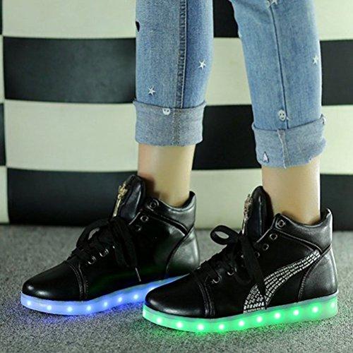 [Présents:petite serviette]JUNGLEST® Croix dange Chaussures LED Baskets Unisexe Femme Homme Argent USB Ch Noir