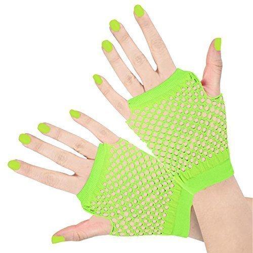 Fischnetz-shorts (Erwachsene Shorts Fischnetz Fingerlose Handschuhe 1980er Rave Schicke Verkleidung Neon Accessoires - Damen, Neongrün, Einheitsgröße)