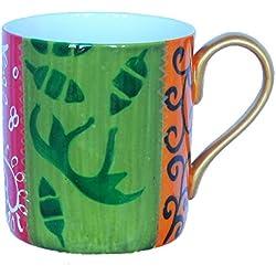 Taza Grande por Café de porcelana de hueso blanca y translúcida Pintada a Mano, Caja de Regalo