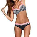 Bikini Damen Push up LHWY Frauen Gepolstert Push-up BH Sommer Bikini Set Vintage Retro Badeanzug Strand Sport Bademode Beachwear (M, Pink)