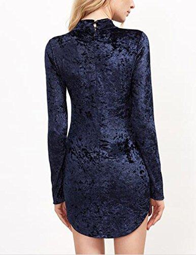 Modetrend Femme Robe Crayon Slim Ajusté en Velour de Soie Moulante Robe Manches Longues Uniforme Col V Dress Bleu Bleu