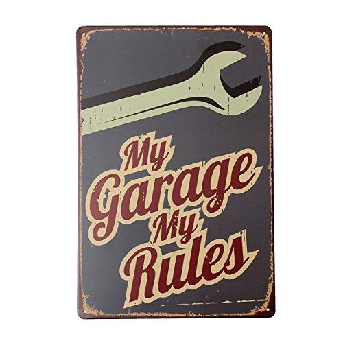 Inovey Mon Garage Tin Signe Vintage Plaque En Métal Affiche Bar Pub Maison Mur Décor