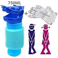 Orinal Urinario Portátil & 50 Guantes Desechables, Unisex Emergencia Urinario Cubo para Viajes para Adulto y Niños 750 ml (Azul)