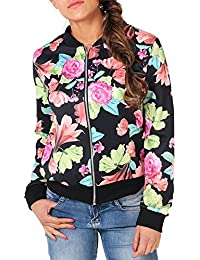 MONYRAY Mujeres Light-Zip-Up Fashion Floral Print Bomber Jacket Coat Chaqueta de béisbol clásica Short Bomber Jacket Coat