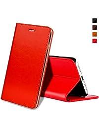 Coque iPhone 8,Housse iPhone 7,EATCYE® [Ultra Mince] Premium Étui [En Cuir Véritable] 360 Protection Complète [Antichoc TPU] Cuir Housse à Rabat Portefeuille Poids-Plume [Caché Fermoir Magnétique] pour Apple iPhone 8/iPhone 7 (Rouge)