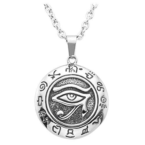 Zysta Collier de Pendentif Œil d'Horus L'Égypte Ancienne Amulette Protection en Acier INOX Homme Femme