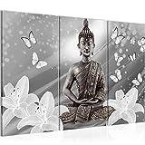Bilder Buddha Blumen Wandbild 120 x 80 cm Vlies - Leinwand Bild XXL Format Wandbilder Wohnzimmer Wohnung Deko Kunstdrucke Grau 3 Teilig - MADE IN GERMANY - Fertig zum Aufhängen 505631c
