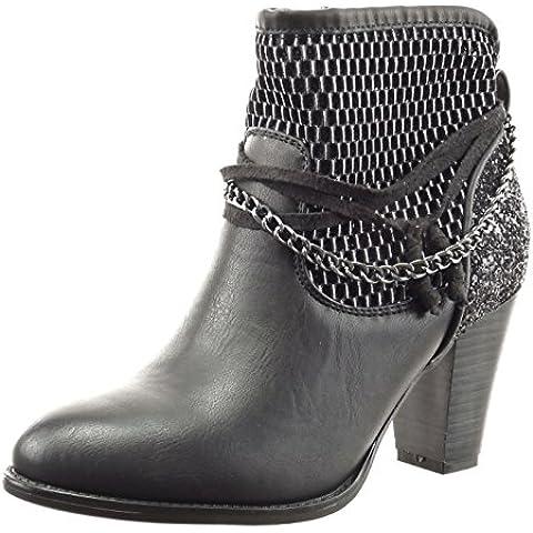Sopily - Zapatillas de Moda Botines Tobillo mujer fishnet cadena cuerda Talón Tacón ancho alto 8 CM - Negro