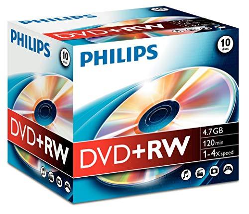 Philips DVD+RW Rohlinge (4.7 GB Data/ 120 Minuten Video, 1-4x Speed Aufnahme, 10er Jewelcase)