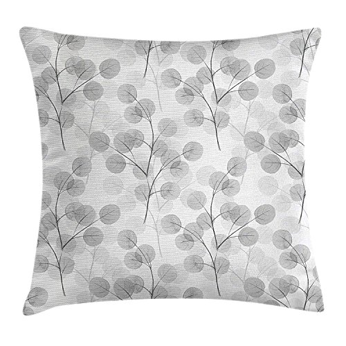 KLYDH Nature Throw Pillow Cushion Cover, Soft Colored Bay Leaf Watercolor Branches Growth Essence Elegance Artsy Print, Decorative Square Accent Pillow Case, 18 X 18 inches, Light Grey White -