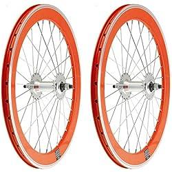 "2x Llanta Rueda para Bicicleta BMX GRAZIELLA de 20"" Fixed Aluminio con Piñon Fijo Color NARANJA 3749"