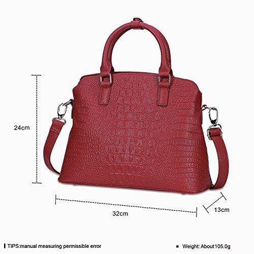 Tre pezzi Signore moda shell tinta unita con la borsa-Rosso Rosso