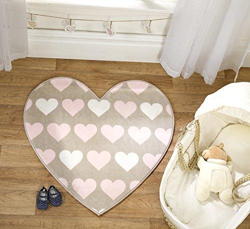 Flair Rugs Teppich Kinderzimmer/Mädchen, Heartfelt waschbar, Braun/Pink/cremefarben, 83 x 83 cm