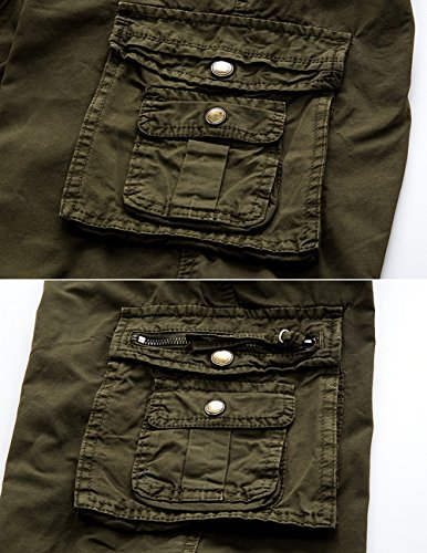 CUKKE Uomo Pantaloncini corti Bermuda Cargo short con tasconi laterali con cintura militare-verde