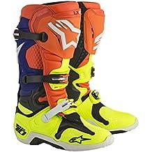 Alpinestars - stivali moto cross alpinestars tech 10 orange fluo,blue,white,yellow fluo - sac6d - 44.5