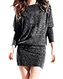Auxo Women Batwing Long Sleeve Jumper Boat Neck Off Shoulder Tops Blouse Stretchy Jersey Tunic Mini Dress