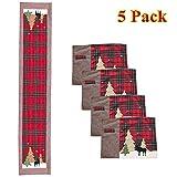 Set di tovagliette di Natale 5 in 1, motivo scozzese rosso e nero, con cervo, decorazione natalizia, 35,6 x 180,3 cm Marrone