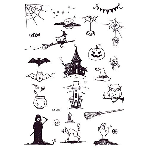 KANKOO Temporäre Tätowierungen Leuchtende Tätowierungsaufkleber Halloween Temporäre Tätowierungen Wassertransfer-Tätowierungen