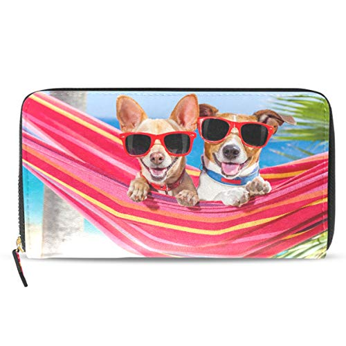 Emoya Damen Geldbörse mit Sonnenbrille, Hängematte, Sommer, Strand, Tropische Palme, Handtasche mit Kreditkartenfächern