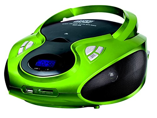 CD-Player | Tragbares Stereo Radio | Kinder Radio | Stereo Radio | Stereoanlage | USB | CD / MP3 Player | Radio | Kopfhöreranschluss | AUX IN | LCD-Display | Batterie sowie Strombetrieb | (Grün-Metallic) (Cd Player Mp3 Radio)