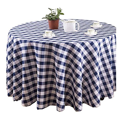 Couvertures de table confortables, beau tissu rond, treillis bleu et blanc