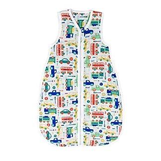 El saco de dormir de verano Slumbersac para bebés, de aprox. 0.5 Tog – Coches– de 0 a 6 meses/70 cm