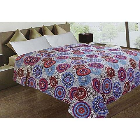 Takestop® Trapuntino de Verano Colcha Círculos colores indios blanco beige cama manta ligero matrimonio 2plazas excepto almohadas