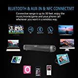 Soundbar, TV Sound Bar Bluetooth Soundbar Wired and Wireless Bluetooth Speakers with NFC, 24-Hour Playtime, 10W Dual Drivers Handsfree Function for TV, Echo Dot, iPhone, iPad, Samsung, tablet, PC, Huawei HTC Motorola Gift ideas Sound Bar for TV 2018 New Version