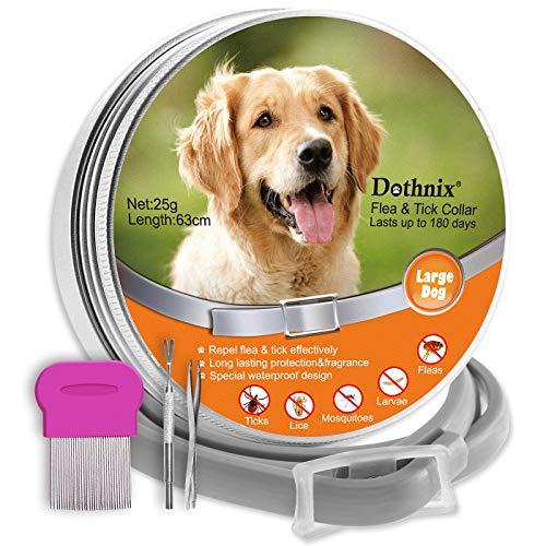 dothnix Zeckenhalsband für Hunde, Zecken Halsband Flohhalsbänder, 8 Monate Schutz, Anti-Zecken und Anti-Flöhe,mit Pinzette für Haustiere (63cm) -