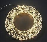 LED Metall Kranz Weihnachtskranz Perle Türkranz Silber Hängend Kränze Tischkranz, Größe:30 cm
