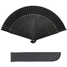K.MAX abanico plegable de bambú, japonés negro seda hechas a mano regalos del partido en casa danza de los abanicos Pascua decoración de la boda con la cubierta del ventilador y borlas