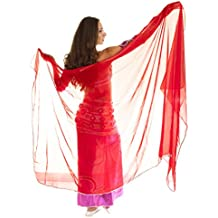 Velo decorado de gasa con acabado para danza del vientre, Rosso/Argento