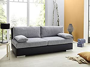 boxspring schlafsofa somerset hellgrau schwarz 202x106cm dauerschl fer sofa schlafcouch. Black Bedroom Furniture Sets. Home Design Ideas