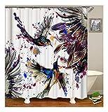 XIAOXINYUAN 3D Digitaldruck Blumen Vogel Polyester Duschvorhang Wasserdicht und Schimmel Bad Vorhang Zubehör 180×180Cm