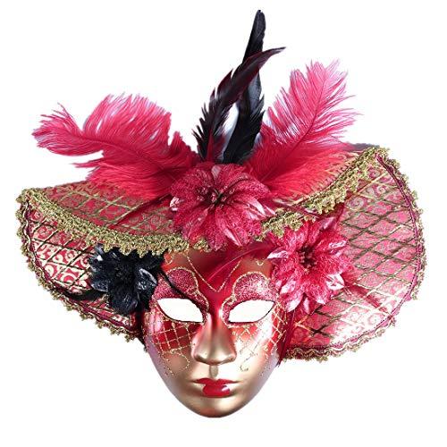 YUFENG Jester Rot Gold Decor Mardi Gras Masquerade Maske tragen zum ()