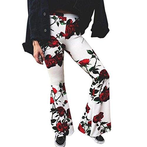 Mode Frauen Schlaghose URSING Damen Blumen Druck Sommer Strand Freizeit Lange Palazzo Hose Gamaschen Hohe Taille Bell-Bottom Hosen Sommerhose Lang Leinehose Flare Hosen Freizeithose (S, Weiß)
