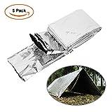 Manta de Supervivencia, JIM'S STORE Paquete De 5 Supervivencia en Emergencias Manta carpa de aluminio a prueba de Solar Térmica Agua rescate Manta 210X160cm