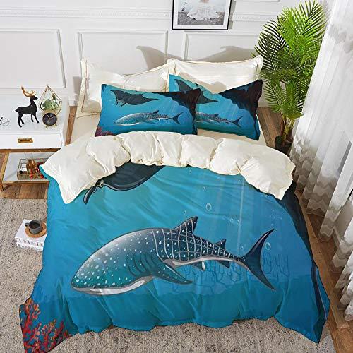 Yaoni Bettwäsche-Set, Mikrofaser, Meerestier Dekor, Shark Deep Water Stingray mit Korallenriffen Algen Rocky Cave Exotic Cartoon, Blau Grau,1 Bettbezug 200 x 200cm + 2 Kopfkissenbezug 80x80cm