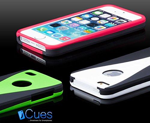 iCues Apple iPhone 5/5S/SE 3 Part Case Cover - Schwarz-Rot - Dreiteilige Bauweise - Stabiles Polycarbonat + Displayschutzfolie Schwarz/Weiss