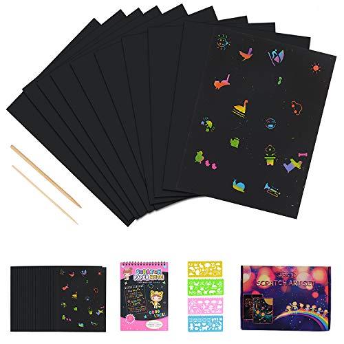 Kratzbilder Set für Kinder,JBSON 50 Große Blätter Regenbogen Kratzpapier zum Zeichnen und Basteln mit Schablonen, Holzstiften - Kinder-blöcke