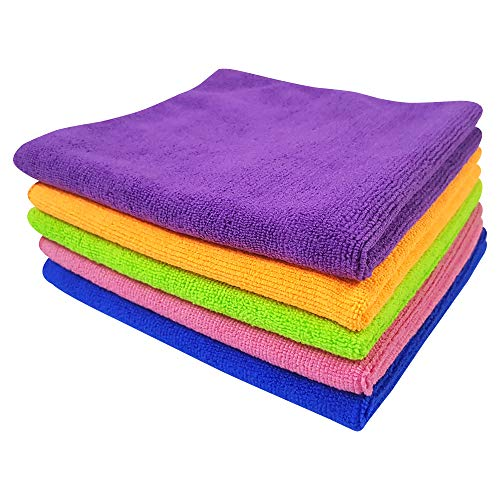 Softspun Microfiber Car Cleaning Cloth (Set of 5, Multicolour)