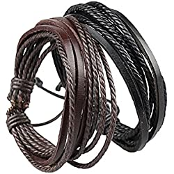 Sorella'Z Black Leather Multistrand Bracelet Combo For Men