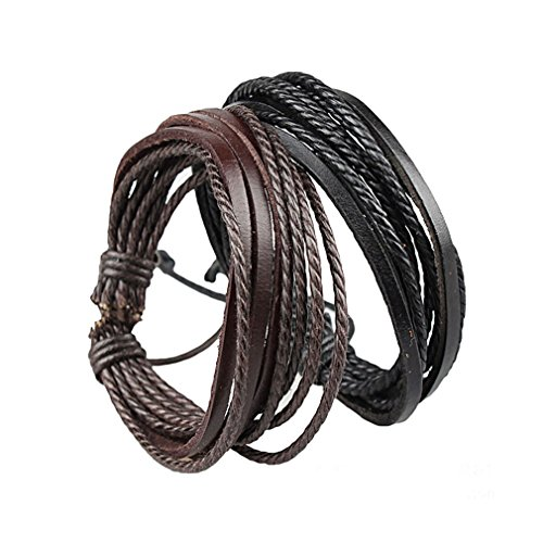 Sorella'Z Black Leather Multistrand Bracelet Combo For Men
